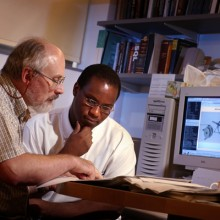 Lyle Hoffman with Ibrahima Bah in the professor's office