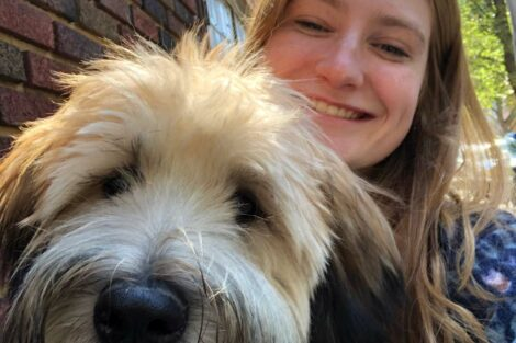 Allison Paglia with a dog
