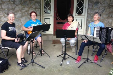 Becky Rosenbauer and three fellow musicians who played together for PorchFest