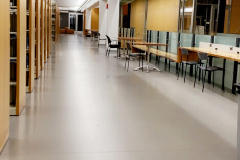 A hallway at Rockwell Integrated Sciences Center