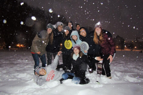 Ultimate Frisbee team photo in the snow