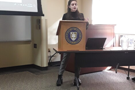 Victoria Puglia presents her research at the Human Development Research Conference at the University of Notre Dame.
