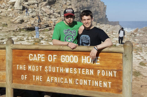 Will Duncan and another man at Cape of Good Hope, South Africa