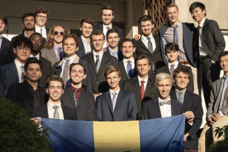 Will Duncan and fellow brothers of Delta Upsilon fraternity