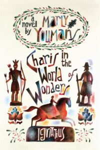An illustration of a Native American, a pilgrim man, and a woman on horseback as the cover of the book Charis in the World of Wonders