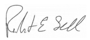 Signature of Robert Sell, chair of the b