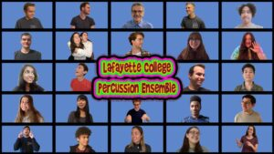 Lafayette College's student percussion ensemble in a Zoom square arranged liked the Brady Bunch