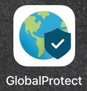 Global Protect icon, with a globe and a shield on it and a check mark on the shield