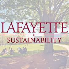 The Lafayette sustainability wordmark with a photo of several people sitting on the Quad behind it