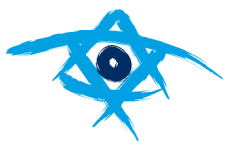 A hand-drawn blue star of David with a circle in the middle, the logo for Taglit Birthright Isreal