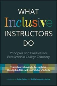 The cover of the book What Inclusive Instructors Do, wth the first word in different colors