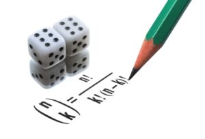 A math combinatorics equation being written by a pencil plus a pair of dice next to them
