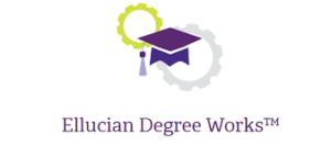 The Ellucian DegreeWorks logo, with those words and illustrations of a graduation cap and two gears