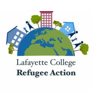 The Refugee Action logo, an illustration of a globe with three biuilidings and a few trees and people on it