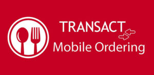 An illustration of a spoon and fork and the words Transact Mobile Ordering in white on a red background