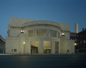 The 14th Street entrance of the U.S. Holocaust Memorial Museum at dusk