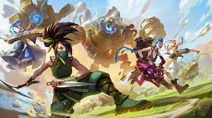 A couple of human characters and an apparent robot from the League of Legends video game are ready to fight.