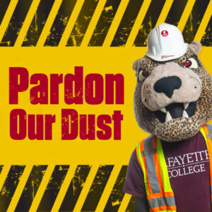 The Leopard mascot wearing a hardhat and construction vest alongside the words Pardon Our Dust